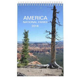 Calendário 2018 da foto da natureza dos parques