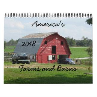 Calendário 2018 das fazendas e dos celeiros de