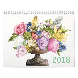 Calendário 2018 de aguarelas botânicas