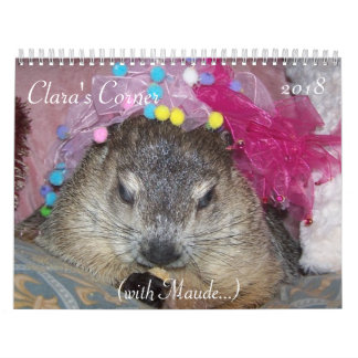 Calendário 2018 de canto do Groundhog de Clara A