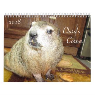 Calendário 2018 de canto do Groundhog de Clara B