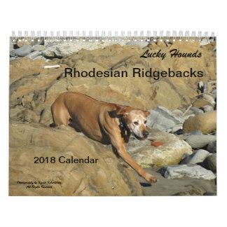 Calendário 2018 de Rhodesian Ridgeback