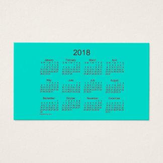 Calendário 2018 de turquesa pelo cartão de visita