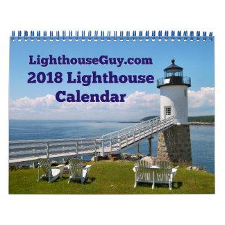 Calendário calendário 2018 do farol de LighthouseGuy.com