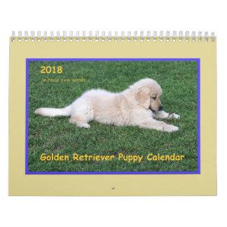 Calendário 2018 do filhote de cachorro do golden