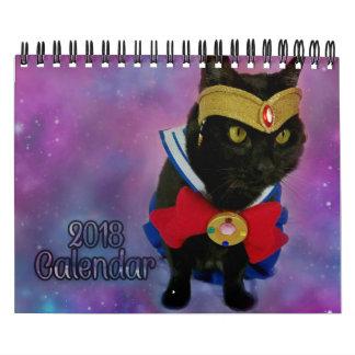 Calendário 2018 do gato de Sailor Moon (versão da