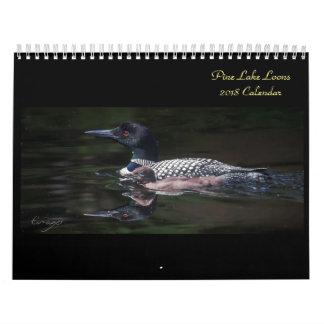 Calendário 2018 do mergulhão-do-norte do lago pine