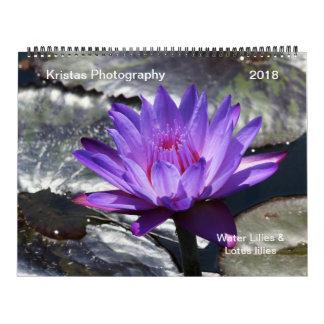 Calendário 2018 dos lírios de água e dos lírios de