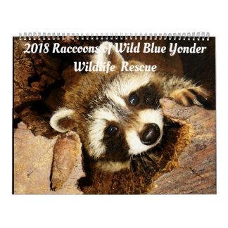 Calendário 2018 guaxinins do salvamento dos animais selvagens