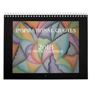 Calendário 2018 inspirado da arte abstracta