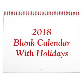 Calendário 2018 vazio com feriados e fio vermelho