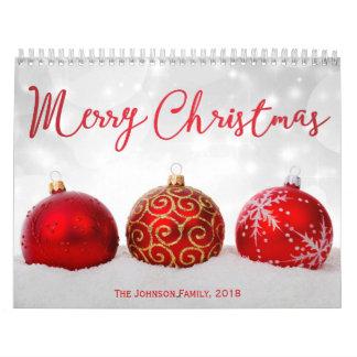Calendário 2018 vermelho da foto do Feliz Natal da