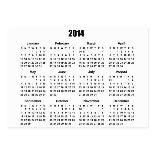 Calendário 2 de 2014 bolsos cartão de visita