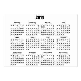 Calendário 2 de 2014 bolsos cartão de visita grande