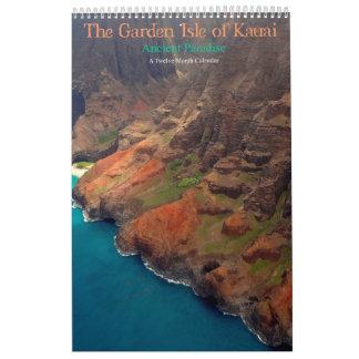 Calendário A ilha do jardim do paraíso antigo de Kauai
