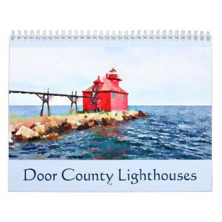 Calendário Aguarela dos faróis de Door County