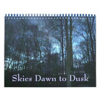 Calendário - alvorecer dos céus ao crepúsculo