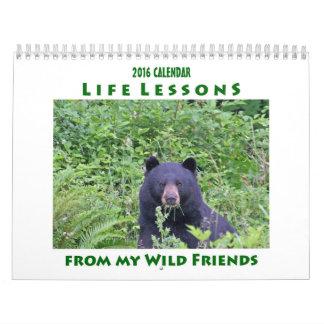 Calendário animal 2016 das lições da vida