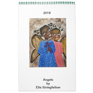 Calendário Anjos da arte preta do afro-americano do