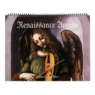 Calendário Anjos do renascimento do vintage, belas artes
