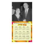 Calendário anual do abstrato 2016 brilhantes do cartão com foto