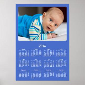 Calendário anual personalizado 2016 do poster azul