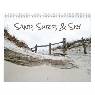 Calendário - areia, surf, & céu
