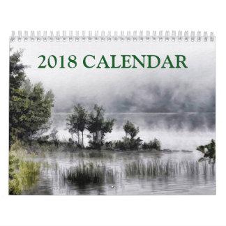 Calendário Arte abstracta da pintura bonita da paisagem 2018