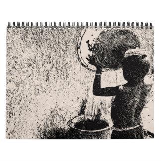 Calendário Arte africana esboçada contemporânea do Pin do