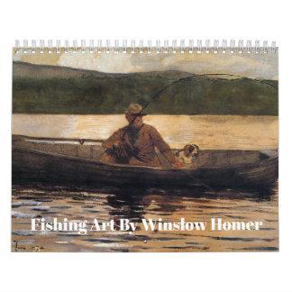 Calendário Arte da pesca por Winslow Homer