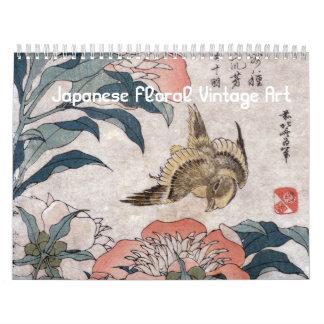 Calendário Arte floral japonesa do vintage