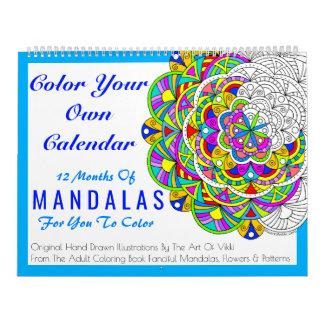 Calendário As mandalas colorem sua própria cor personalizada