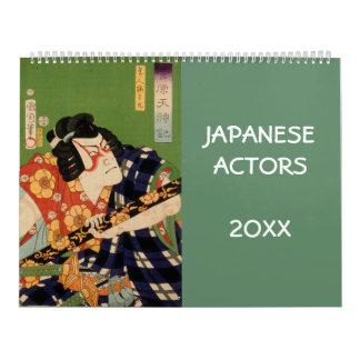 Calendário Atores da coleção velha de Japão (arte japonesa)
