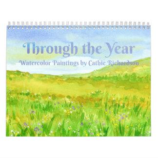 Calendário Através das pinturas da aguarela do ano