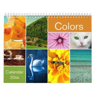 Calendário Calendário bonito das cores