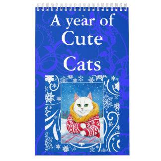 Calendário bonito das ilustrações da arte do gato