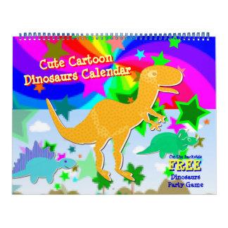 Calendário bonito dos miúdos dos dinossauros dos