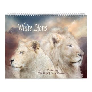 Calendário branco da arte dos leões