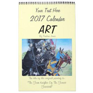 Calendário cavalos jousting 2017 dos cães da arte da vida