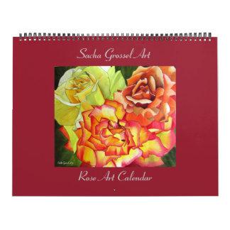 Calendário cor-de-rosa da arte da aguarela por