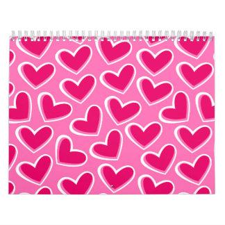 Calendário Corações do amor