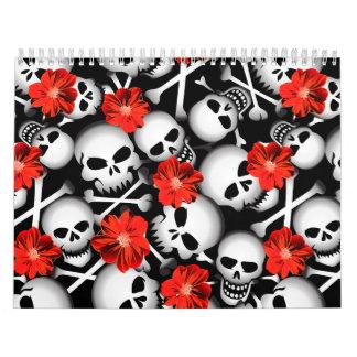 Calendário Crânios e flores