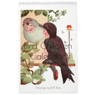 Calendário Crianças bonitos 4 do pássaro dos desenhos da