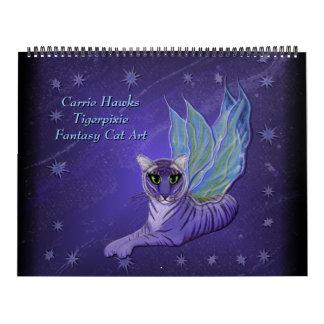 Calendário da arte do gato da fantasia. Gatos