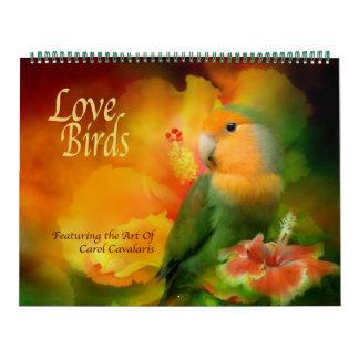 Calendário da arte dos pássaros do amor