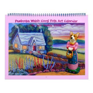 Calendário da arte popular do Corgi de Galês do