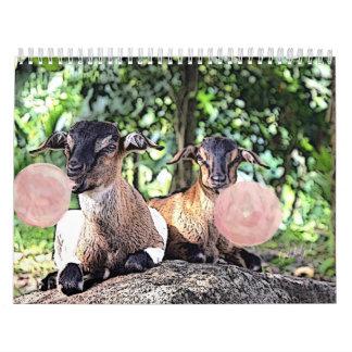Calendário da cabra da pintura da aguarela da