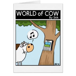 Calendário da vaca cartão comemorativo
