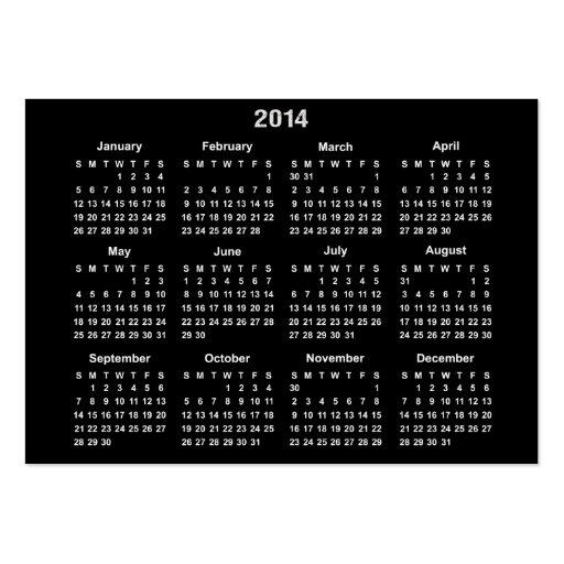 Calendário de 2014 bolsos modelo cartao de visita