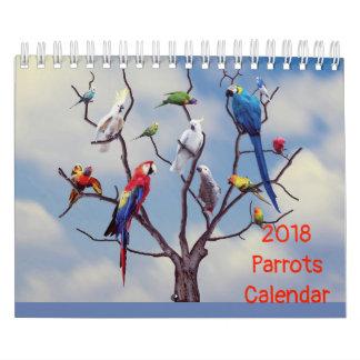 Calendário de 2018 papagaios